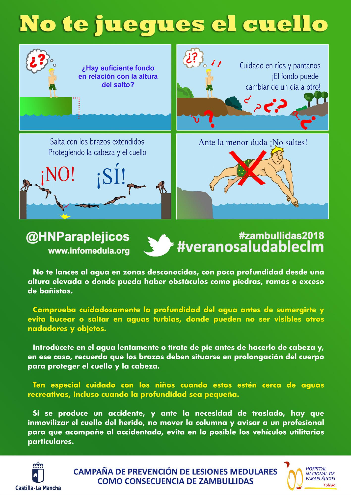 Cartel Prevención Lesiones por Zambullidas A3 (Verano Saludable) (Archivo PDF)