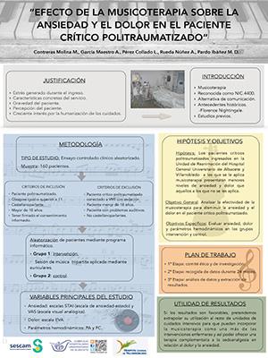 Póster Efecto de la musicoterapia sobre la ansiedad y el dolor en el paciente crítico politraumatizado. Archivo PDF (Abre en nueva página)