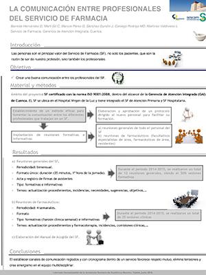 Póster La comunicación entre profesionales del Servicio de Farmacia. Hospital de Cuenca. Archivo PDF (Abre en nueva página)