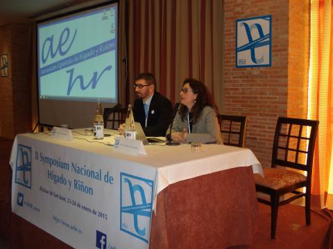 Los doctores Rebeca García y Sami Aoufi durante la inaguración del Symposium Nacional